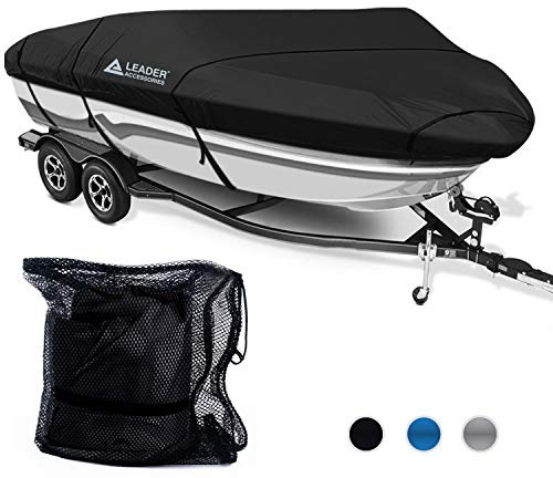 Leader Accessories 300D Polyester 5 Colors Trailerable Runabout Boat Cover Fit V-Hull Tri-Hull Fishing Ski Pro-Style Bass Boats