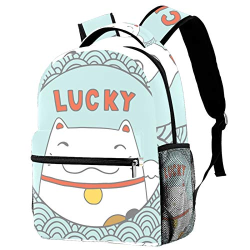 Adult Backpack,Explosion Models Sold Casual and Fashionable Suitable for School, Outdoor Hiking, Travel and Sports BagsLucky Neko Cats Kitten Japan Wave