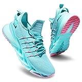 Deevike Laufschuhe Turnschuhe Sneaker Jogging Fitness Outdoors Sportschuhe Damen Luftkissen Schuhe Blaugrün Rosa-35