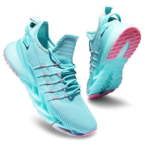 Deevike Laufschuhe Turnschuhe Sneaker Jogging Fitness Outdoors Sportschuhe Damen Luftkissen Schuhe Blaugrün Rosa-36