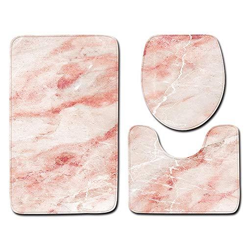 aiwikang 3pcs Lavable Adj. Resbaladizo Mármol. Colchón de baño Tapa del Inodoro Accesorios de baño Alfombra tapiceria(Pink)
