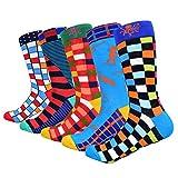 HIWEAR Vestido para hombre Colorido Diseño divertido Comodidad peinada Algodón Crew Pack de calcetines (10PK-mix1)