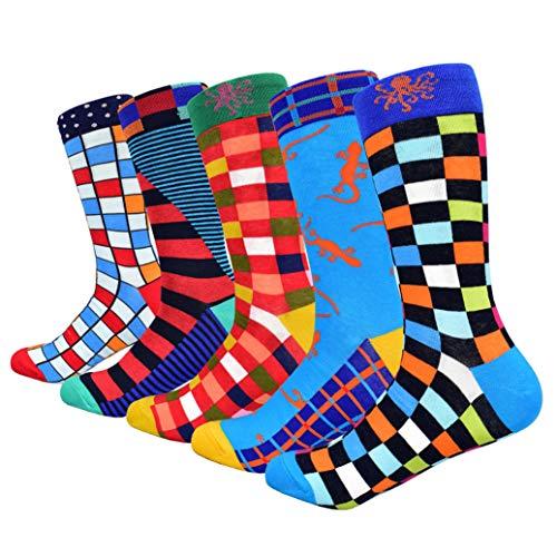 HIWEAR Vestido para hombre Colorido Diseño divertido Comodidad peinada Algodón Crew Pack de calcetines (Design-mix1)