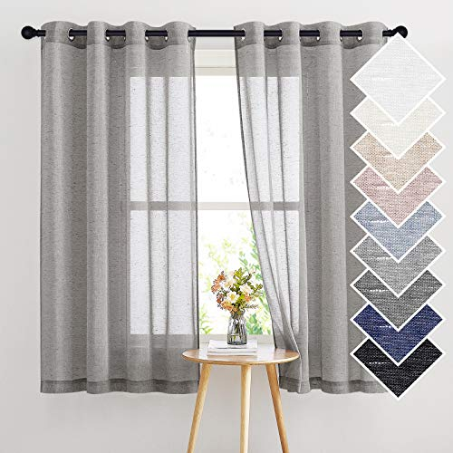 NICETOWN Sheer Curtains Open Linen Blend for Window Decor, Grommet Natural Linen Flax Window Treatment Privacy with Light Filter Vertical Drapes for Bedroom, Charcoal Grey, W52 x L63, 2 Panels