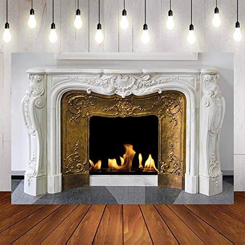 Fondo de fotografía Invierno Chimenea Madera Fuego Llama exuberante ladrillo Fiesta decoración telón de Fondo Estudio fotográfico A12 9x6ft / 2,7x1,8 m