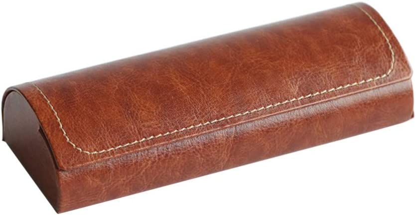 Healifty Leather Glasses Case Hard Shell Eyeglass Sunglasses Cases with Soft Felt Interior for Women Men (Brown)