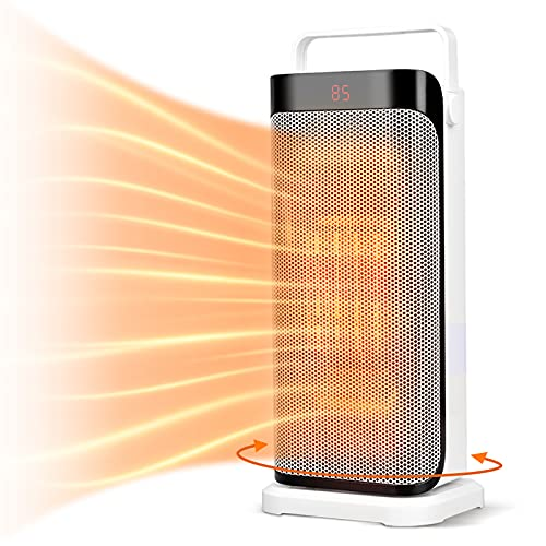 Oscillating Space Heater - Portable Ceramic Electric Heater w/ Remote,...
