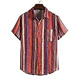 Shirt Hombre Ajuste Regular Tapeta con Botones Hombre T-Shirt Estampado Moda Bolsillos A Rayas Cuello Kent Hombres Shirt Playa Personalidad Tendencia Hombres Shirt Hawaiana TC85-Red L