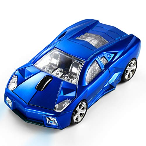 BKLNOG Sports Car Mouse [Updated] with LED Headlights, 1600 DPI Wireless Car Shaped Mouse for Mac & Computers, Blue