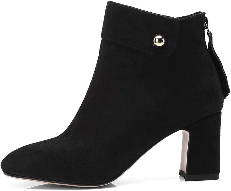 GIY Women's Winter Fringe High Blocl Heel Ankle Boots Pointed Toe Zip Nubuck Tassel Thick Heels Short Boots Ladies Chunky Heel Pump Boots