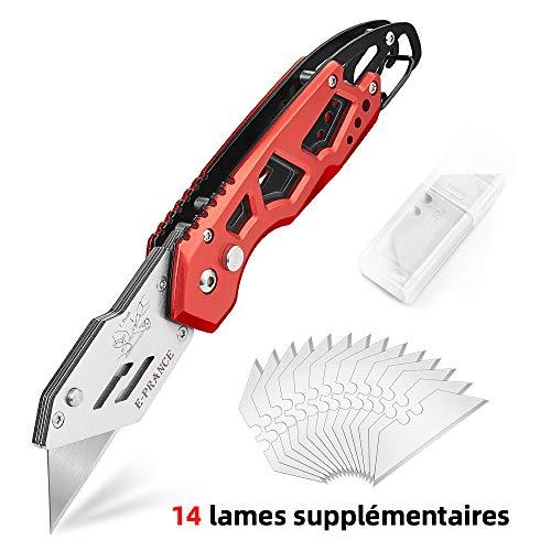 E-PRANCE Cutter Couteau Pliant en Métal, avec un Design Classique y compris 15 Lames de Rechange Poignée en Aluminium Antidérapante Anti-transpiration Idéal pour la Vie de Famille