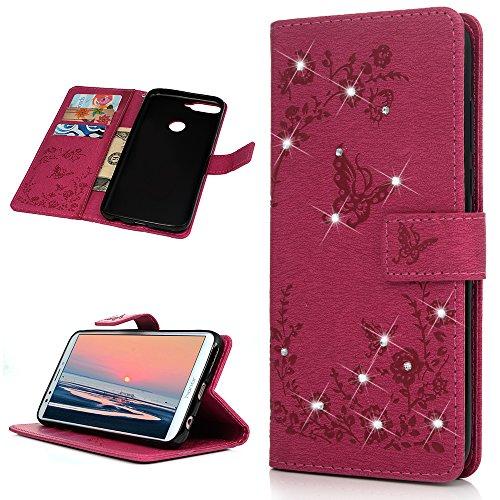 Huawei Y7 2018 Handyhülle Honor 7C Hülle Glitzer Starss Schmetterling Muster Leder Tasche Flip Case Cover Schutzhülle Silikon Handtasche Skin Ständer Klapphülle Schale Bumper Magnetverschluss-Roserot - 3