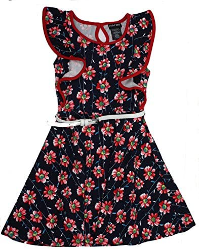 Paper Doll Girls Dress Navy Red Floral Sleeveless Butterfly Ruffles Junior 10 product image