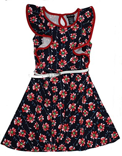 Paper Doll Girls Sleeveless Dress (Navy/Red Floral) (7)