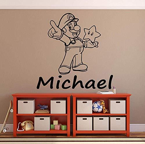 Muurstickers Super Muursticker Sterren Cartoon Aangepaste Kids Naam Gepersonaliseerde Vinyl Deur Venster Stickers Slaapkamer Baby Kamer Home Decor 42x42cm