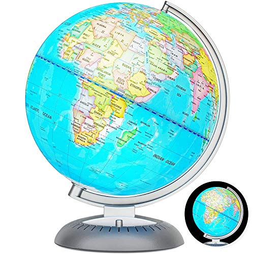 "Illuminated Globe Lamp of The World with Stand - Size 8"" - Globe for Kids Globe lamp Geographic Globe with LED Light Illuminated 2-in-1 Desktop World Globe (8 Inches)"