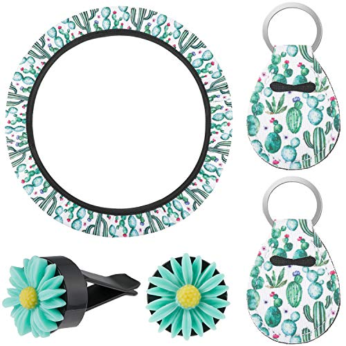 5 Pieces Cactus Car Accessories, Includes Cactus Steering Wheel Cover, 2 Pieces Cactus Charm Keyring and 2 Pieces Flower Car Vent Clips