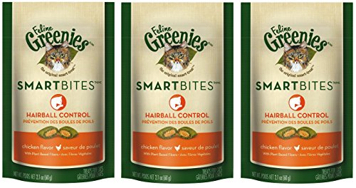 Feline Greenies Smartbites Hairball Control Cat Treats - Chicken Flavor - 2.1 Oz. (3 Pack)