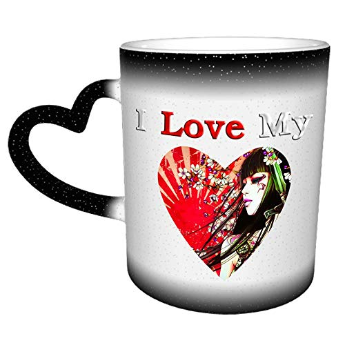 Amo mi taza de café con bandera japonesa, regalos divertidos para mujeres y hombres, 11 oz (330ML)
