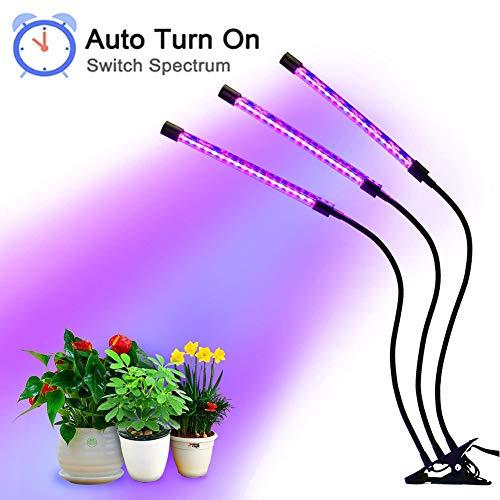 PURATEN Plant Grow Light met auto-turn-on-functie, 36 W 54 LED plant grow-lamp met 3H / 6H / 12H timer, 3-kops stuifhals met 5 dimbare niveaus, voor het kweken van kamerplanten