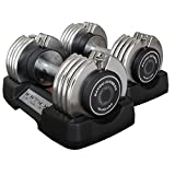 Bayou Fitness Pair of Adjustable 50 lb Dumbbells (Total Weight 100 lbs.)