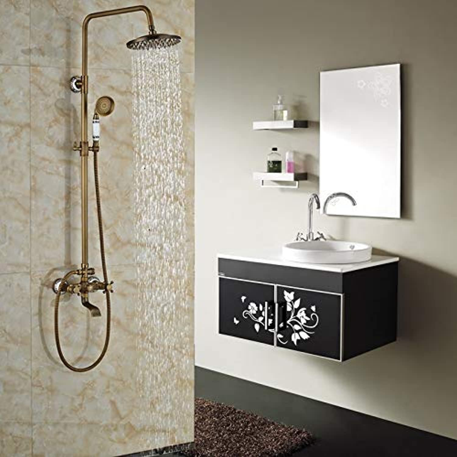 SISHUINIANHUA In-Wall Outdoor 8 Regendusche Set Badewanne und Dusche Mischbatterie Dual Griffe Antique Brass Finish