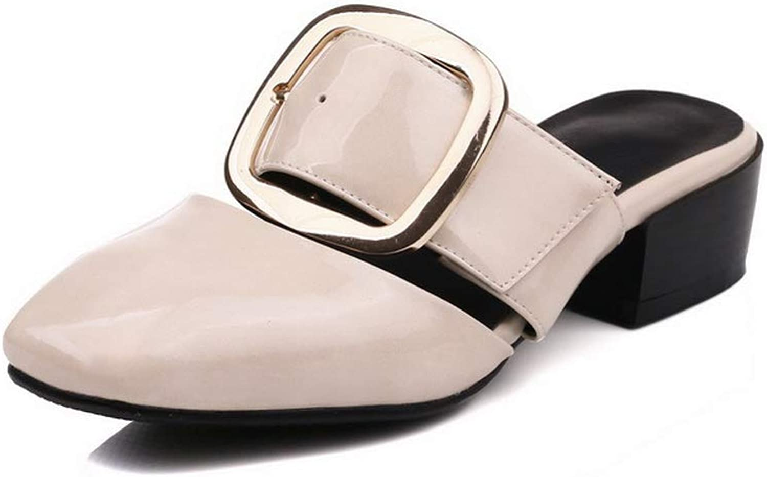 AdeeSu Womens Metal Buckles Chunky Heels Patent-Leather Pumps shoes SLC04389
