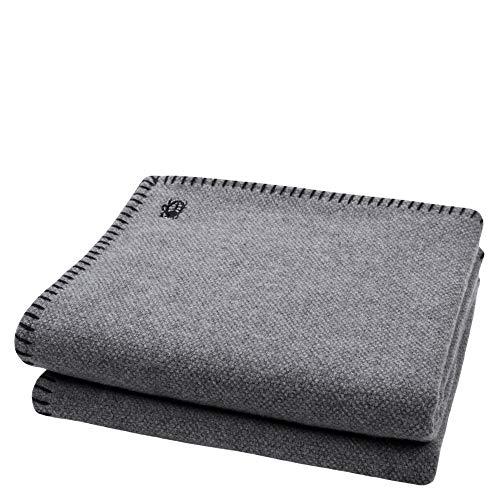 zoeppritz since 1828 Must Stitch-Decke - Wolldecke - edles Plaid aus reiner Schurwolle mit Häkelstich, 150 x 200 cm, 980 black