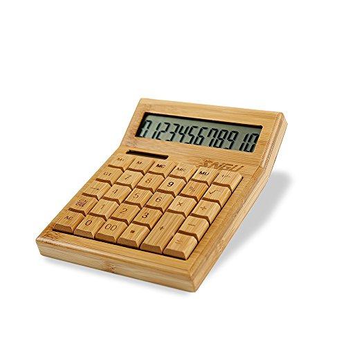 Sengu funktionaler Tischrechner mit Solarbetrieb, Bambus-Taschenrechner mit großem Display mit 12 Ziffern