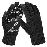 OZERO Winter Gloves Men Women Thermal Knit Touchscreen Running Texting Black