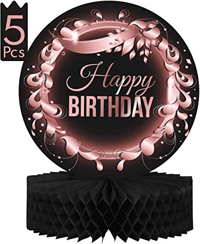 """Birthday Table Centerpiece Decorations -5-Pack Double Sided Cardstock & Tissue Paper Honeycomb Happy Birthday Decoration - 12"""" Rose Gold Birthday Party Decorations Centerpieces for Table Decorat..."""