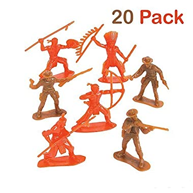 Plastic Cowboys And Indians Figures - Pack Of 20 - 2.25 - 3.25 Inches Brown And Orange Colors - Western Action Figures - For Kids, Great Party Favors, Bag Stuffers, Fun, Toy, Gift, Prize - By Kidsco
