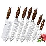 MSY BIGSUNNY 7-PCS Knife Set, Tang Series Kitchen Knife Set with Cleaver Knife
