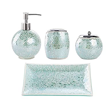 Whole Housewares Bathroom Accessories Set, 4-Piece Glass Mosaic Bath Accessory Completes with Lotion Dispenser/Soap Pump, Cotton Jar, Vanity Tray, Toothbrush Holder (Turquoise)