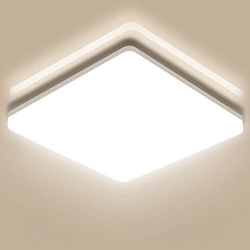Oeegoo 24W Plafonnier LED, 2400LM Lampe de Plafond, Eclairage Puissant IP44 Étanche, Lumière Blanc 4000K, Plafonnier ...