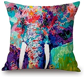 18 X 18 Inch Colorful Elephant Linen Cotton Decorative Throw Pillow Case Cushion Cover