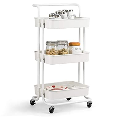 Giantex 3-Tier Utility Cart, Storage Rolling Cart with Casters, Multifunctional Organizer Cart with Top Handle, ABS Mesh Baskets, Storage Trolley with Brakes for Home and Office (White)