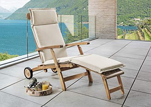 Destiny Premium Auflage für Deckchair Natur Deckchairauflage Polster Kissen by abziehbar & waschbar