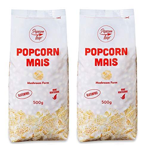 Popcorn Mais Mushroom 2 x 500g für Popcornmaschine Popcornloop Beste Qualität Ohne Gentechnik Vegan Glutenfrei