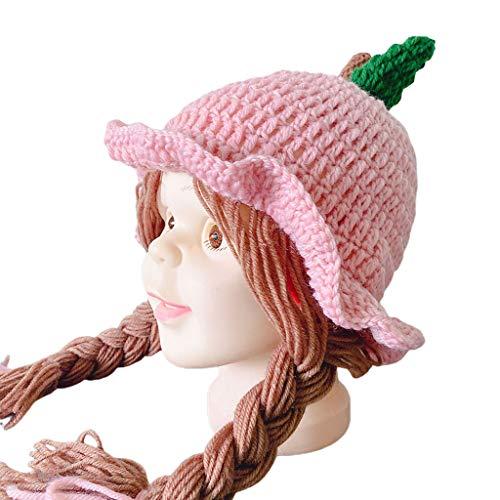 Moregirl Otoño Invierno Tejido Peluca para bebé Sombrero Pelucas para recién Nacidos Brades Protección auditiva Gorra con Volantes
