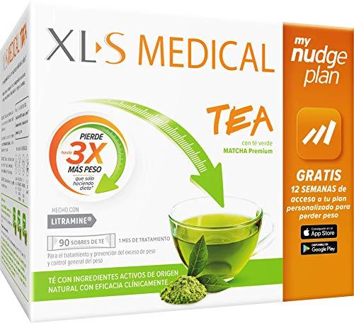 XLS Medical Tea - con Té verde matcha - Incluye tu plan personalizado Nudge durante 12 semanas - Tratamiento para 1 mes (90 sticks)