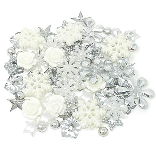 Wedding Touches 80 Winter/Christmas Mix Silver/White Shabby Chic Resin Flatbacks & Craft Cardmaking Embellishments