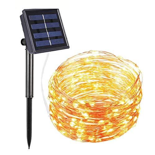 Zonne-licht snaar, led waterdichte buitenlamp, gypsophila koperdraad en koperdraadlamp, vakantiekleur veranderenkleine flitslamp decoratie-30 meter 300 lampjes warm wit
