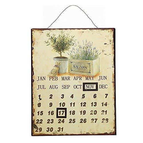 linoows Nostalgie Garten Magnekalender, Dauerkalender, Blechtafel mit Lavendel