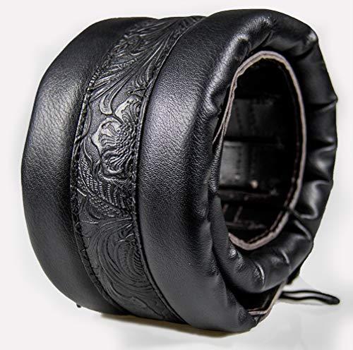 Tracolla per Chitarra Pelle Morbido Neoprene 9cm Acustica Basso Elettrico Classica Western Vantage Plaid in Microfibra Bottoni (nero)