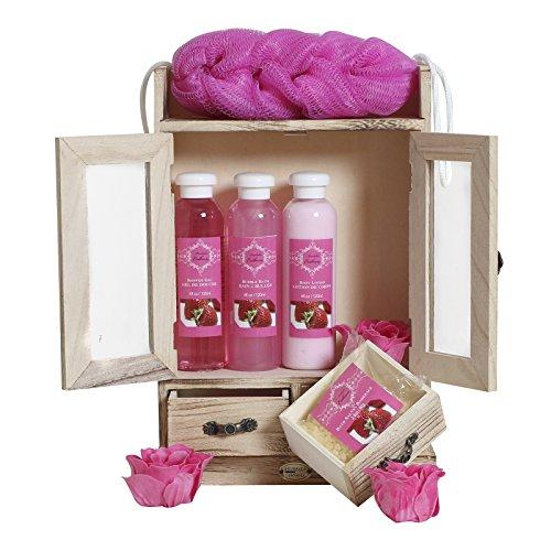BRUBAKER Cosmetics Bade- und Pflegeset Erdbeere im Holzschrank