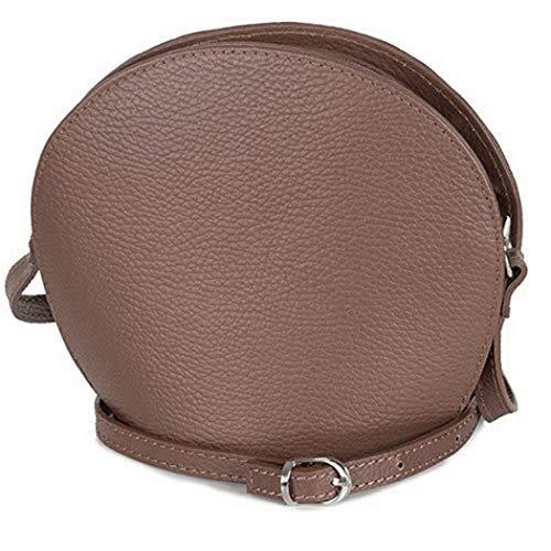 Taschenloft kleine Damen Leder Abendtasche - Umhängetasche (20 x 17 x 9 cm) Dunkelbraun