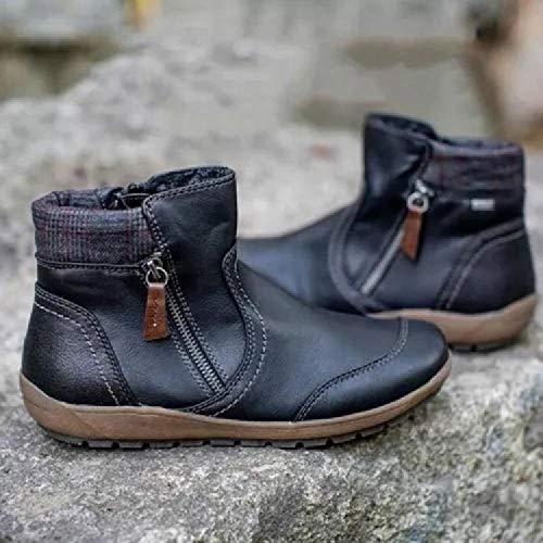LXWS Botas Martin para Mujer, Botas Cortas Cuero Estilo Occidental,Botines con Cremallera Lateral Plana,Zapatos para Caminar Antideslizantes para Exteriores Resistentes al Desgaste,Black-37