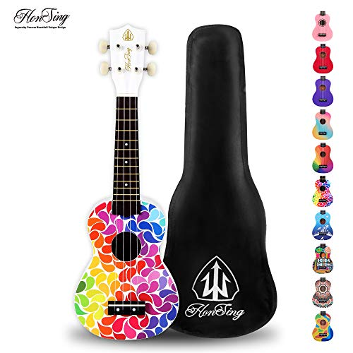 Honsing Soprano Ukulele Colorful Floral petal Painting Hawaii kids Guitar 21 inch Gift for Beginner matte finish