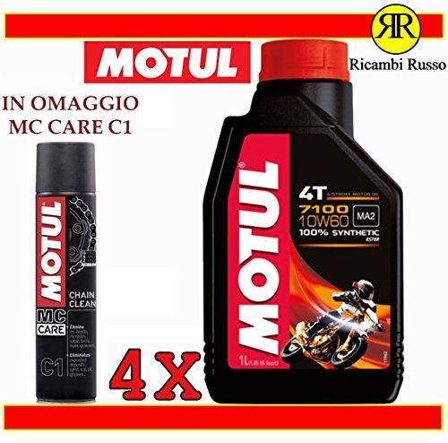 Motul 7100 10w60 olio motore moto 4 tempi litri 4 + OMAGGIO MC Care C1 Ch